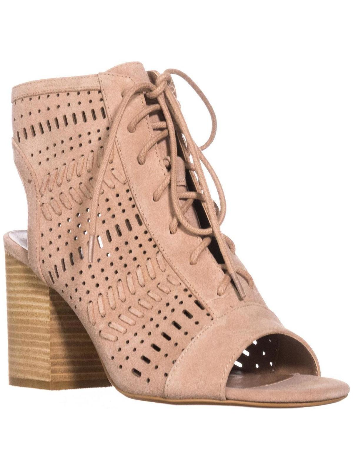 Womens Steve Madden Gavell Lace Up Heeled Sandals, Camel Suede