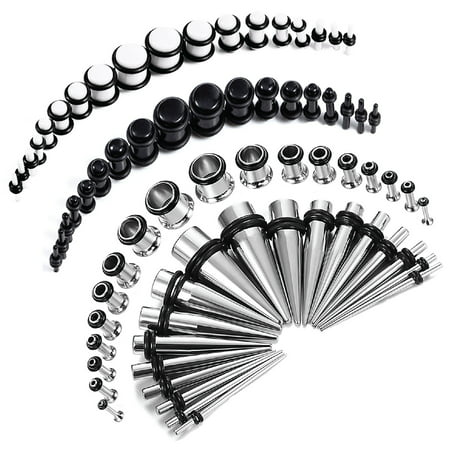 72PC Gauges Kit Black White Acrylic Plugs Stainless Steel Tapers 14G-00G Ear Stretching Set ()