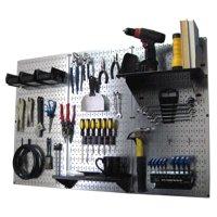 4ft Metal Pegboard Standard Tool Storage Kit - Galvanized Metallic Toolboard & Black Accessories