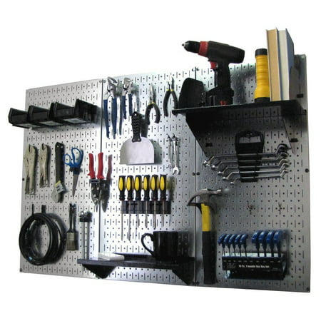4ft Metal Pegboard Standard Tool Storage Kit - Galvanized Metallic Toolboard & Black Accessories (Pegboard Storage)