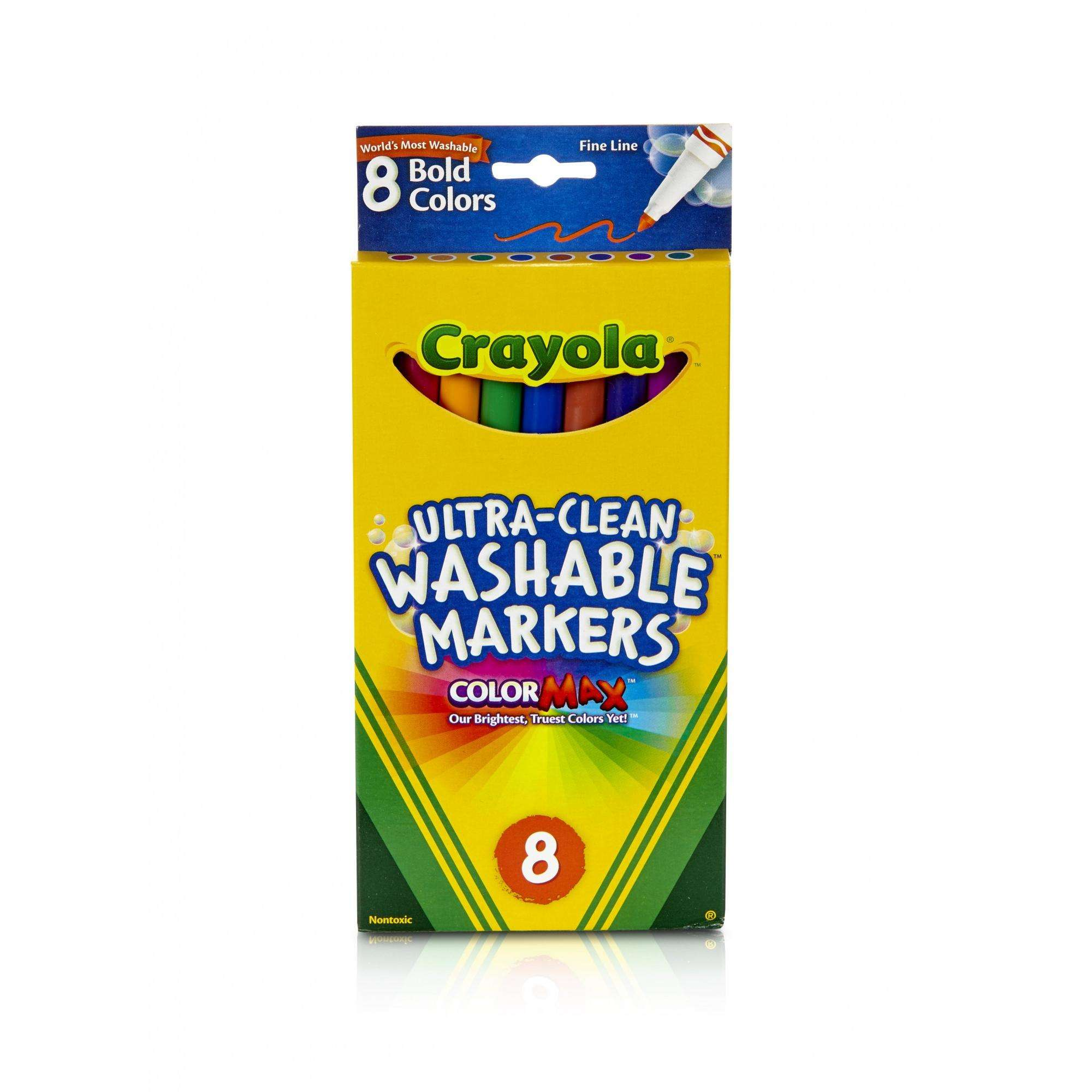 Crayola Ultra Clean Washable Fine Line Markers, Bold Colors, 8-count