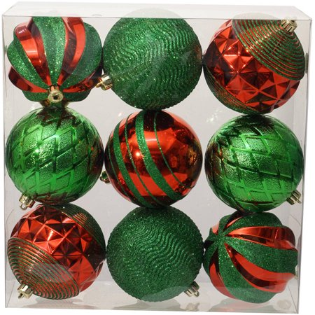 Holiday Time Christmas Ornaments Traditional 100mm Shatterproof, Set of 9,  Red / Green - Holiday Time Christmas Ornaments Traditional 100mm Shatterproof, Set