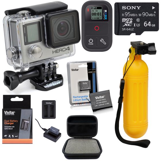 GoPro HERO4 Black, Smart Remote & Accessory Bundle - Walmart com