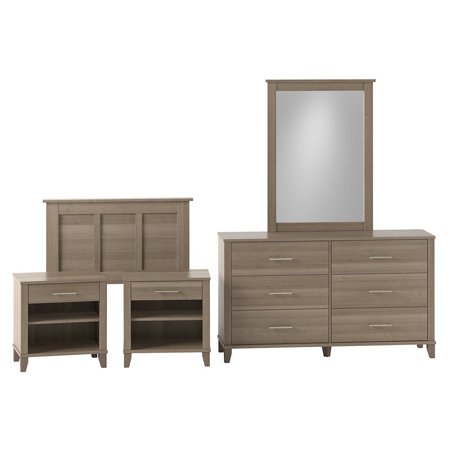 Bush Furniture Somerset Twin Size 5 Piece Bedroom Set in Ash Gray ()