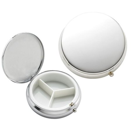 Aeropen International P-115S Chrome Solid Cover 3 Compartment Round Pill box