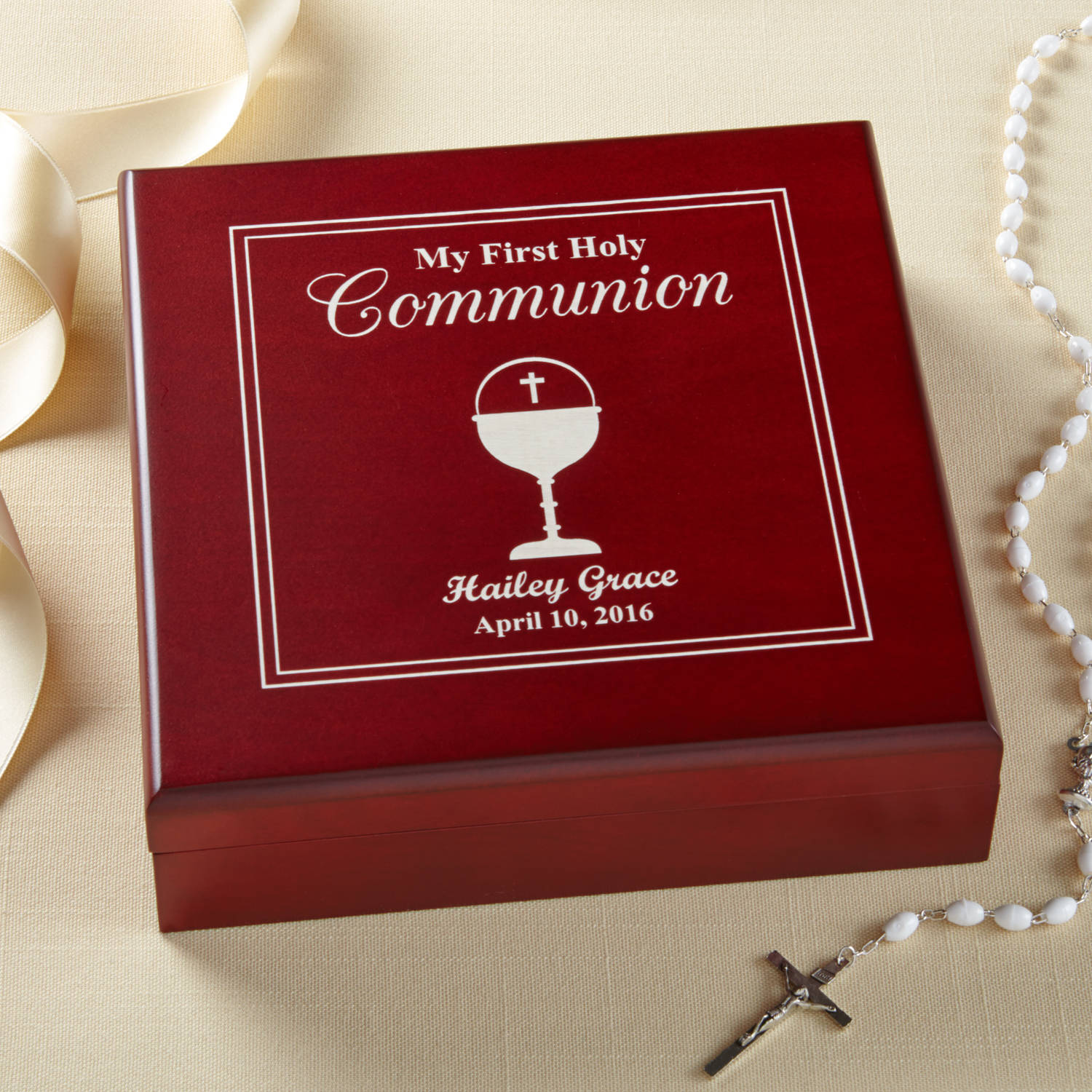 Personalized First Communion Wood Keepsake Box