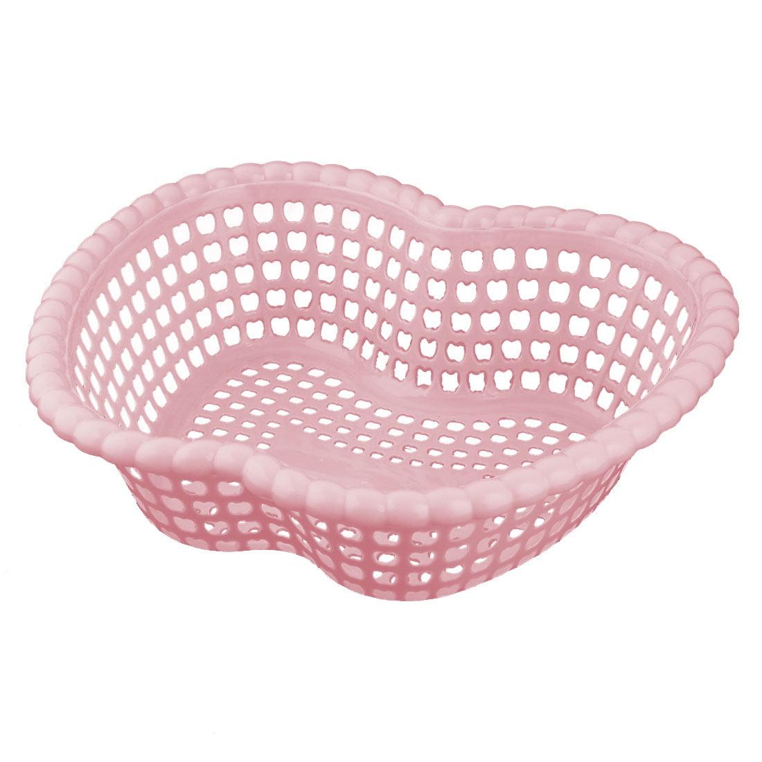 Unique Bargains Family Plastic Apple Shaped Fruit Vegetable Holder Washing Basket Strainer Pink