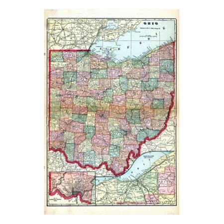 Ohio And Surrounding States Map.1905 Ohio State Map Ohio United States Print Wall Art Walmart Com