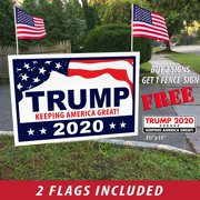 "ITC Donald Trump for President 2020 (Buy 2 Get A Free Fence Sign) Yard Signs with H-Frames 12""x18"" (with 2 American Flags)"