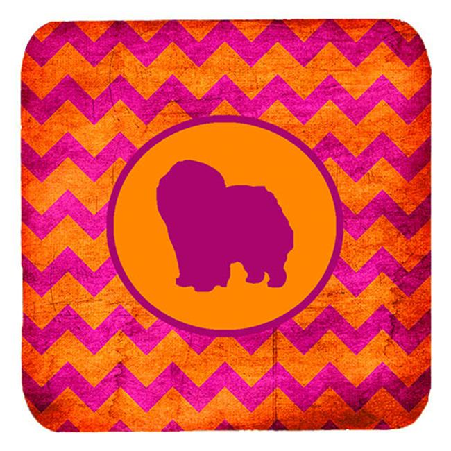 Carolines Treasures SDK1125-B-FC Chow Chow Chevron Pink And Orange Foam Coasters, Set Of 4 - image 1 of 1