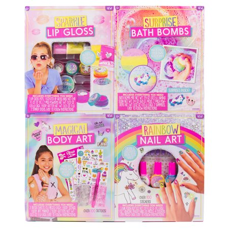 4-in-1 D.I.Y. Creative Beauty Kids Kit: Make Lip Gloss, Bath Bombs, Body Art and Nail Art - Diy Christmas Crafts For Kids