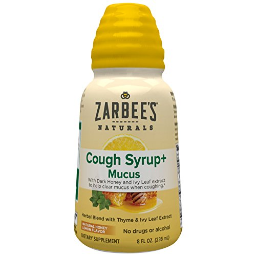 Zarbee's Naturals Cough Syrup + Mucus with Dark Honey- Herbal Blend with Thyme & Ivy Leaf Extract , Natural Honey Lemon Flavor , 8 Fl. Oz(1 Bottle)