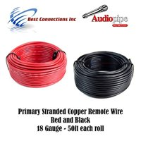product image 18 gauge wire red black power ground 50 ft each primary  stranded copper clad