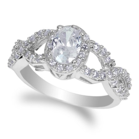 JamesJenny Ladies 10K White Gold 0.9ct Oval Cubic Zirconia Engagement & Wedding Ring Size 4-10