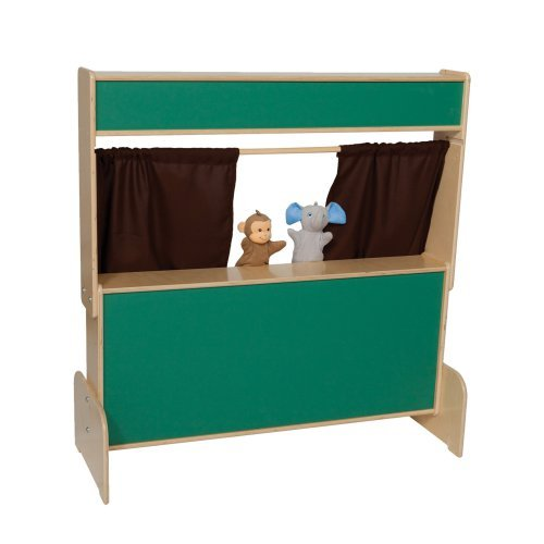 Wood Designs Chalkboard Puppet Theater with Brown Curtains