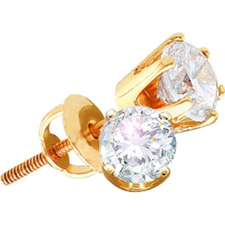 14kt Yellow Gold Womens Round Diamond Solitaire I3 JK Screwback Stud Earrings 1/5 Cttw = .19 Cttw (I3 Clarity, round cut)
