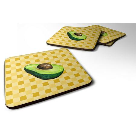 Set of 4 Sliced Avacado on Basketweave Foam Coasters Set of 4 BB7221FC