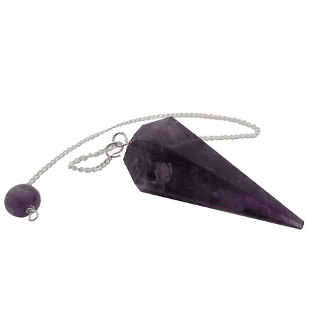 Natural Amethyst Gemstone Rock Crystal Hexagonal Pointed Reiki Chakra Pendant