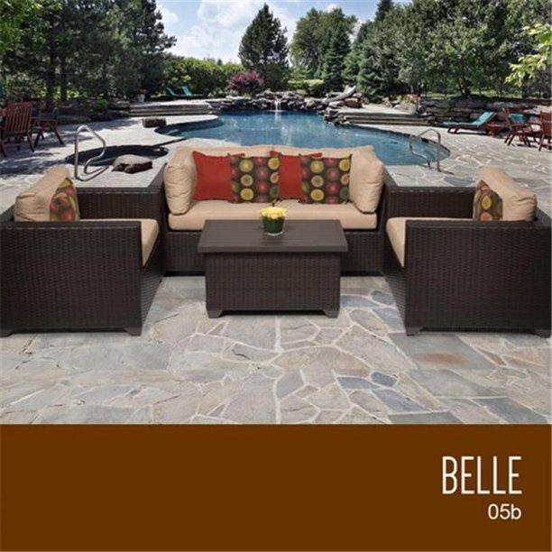 TKC Belle 5 Piece Outdoor Wicker Patio Furniture Set ...