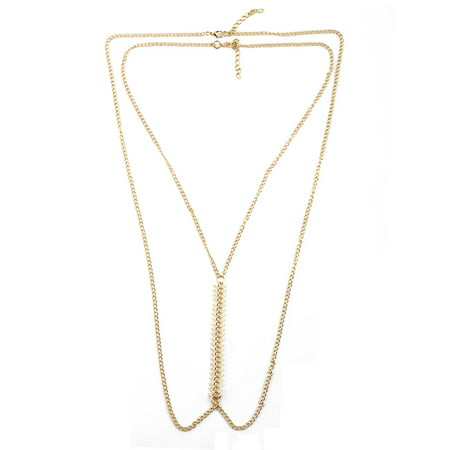 Women Metal Belly Pendant Adjustable Crossover Necklace Body Chain Gold Tone