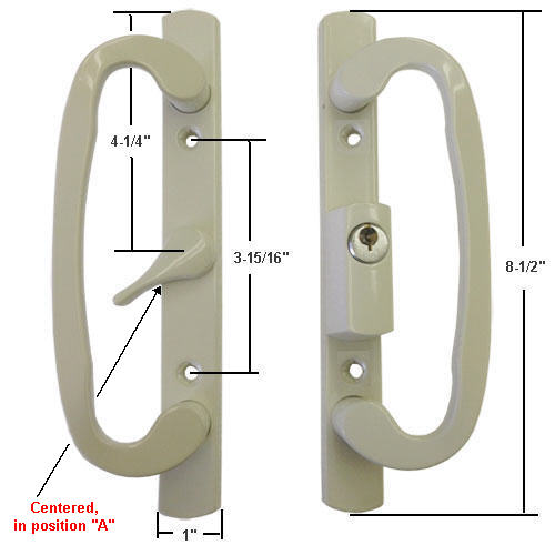 "Sliding Glass Patio Door Handle Set, Mortise Type, A-Position, Centered Latch Lever, Keyed, Beige, 3-15/16"" Screw Holes"