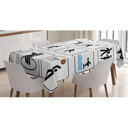 Olympics Decorations Tablecloth, Sports Competition Games Dancing Horse Riding Bowling Athletics Art, Rectangular Table Cover for Dining Room Kitchen, 60 X 84 Inches, Black White, by Ambesonne