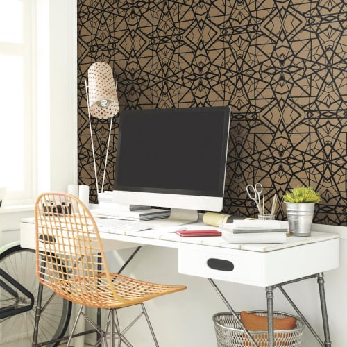 RoomMates Shatter Geometric Gold/Black Peel & Stick Wallpaper