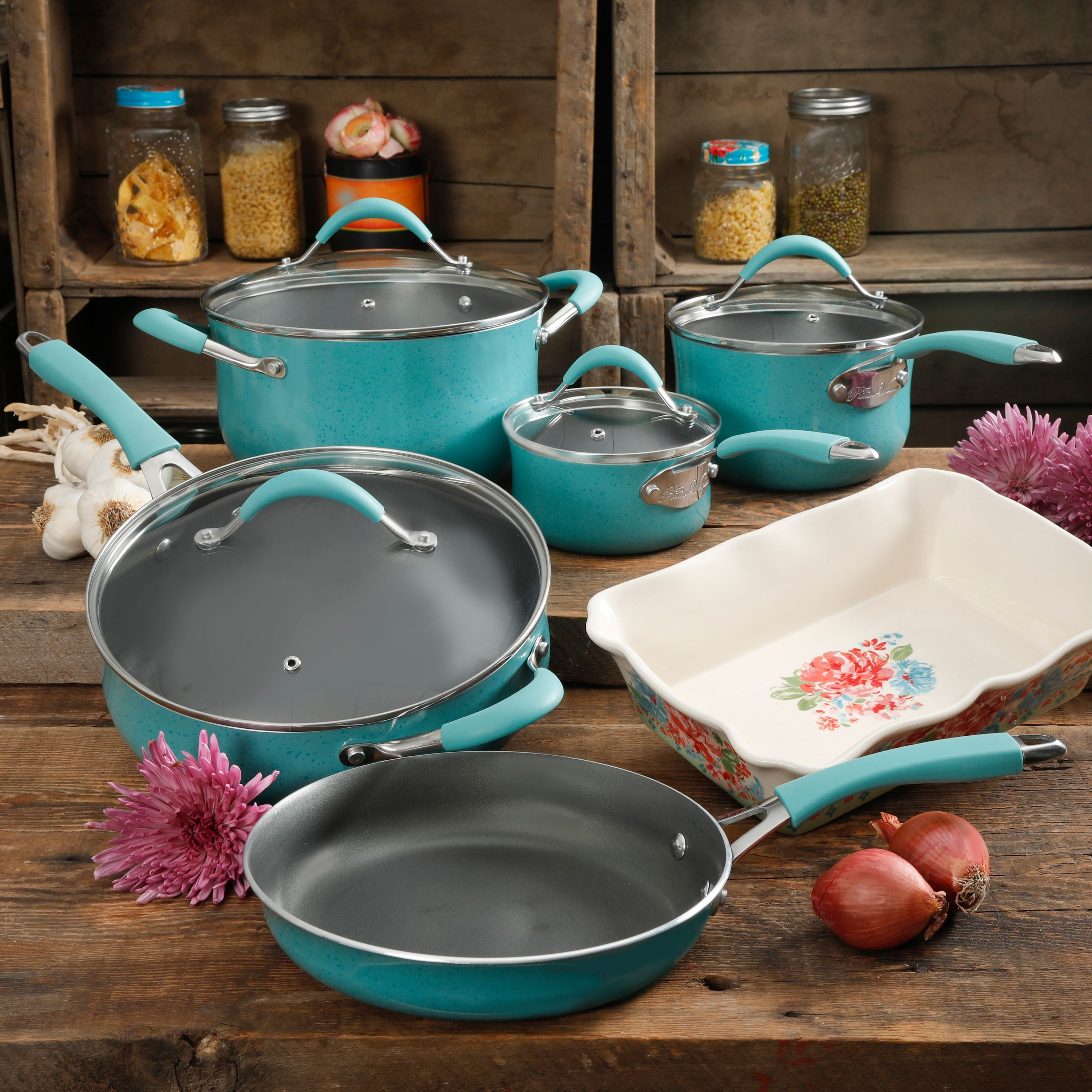 The Pioneer Woman Frontier Speckle Turquoise 10-Piece Cookware Set