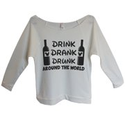 "Womens Disney 3/4 Sleeve ""Drink Drank Drunk Around The World"" Disney Sweat Shirt Gift X-Large, Beige"