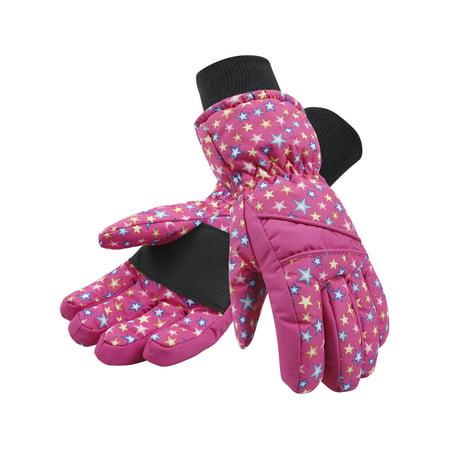 Kids Girls Thinsulate and Waterproof Ski Glove, Pink with Stars, M Pink Ski Gloves