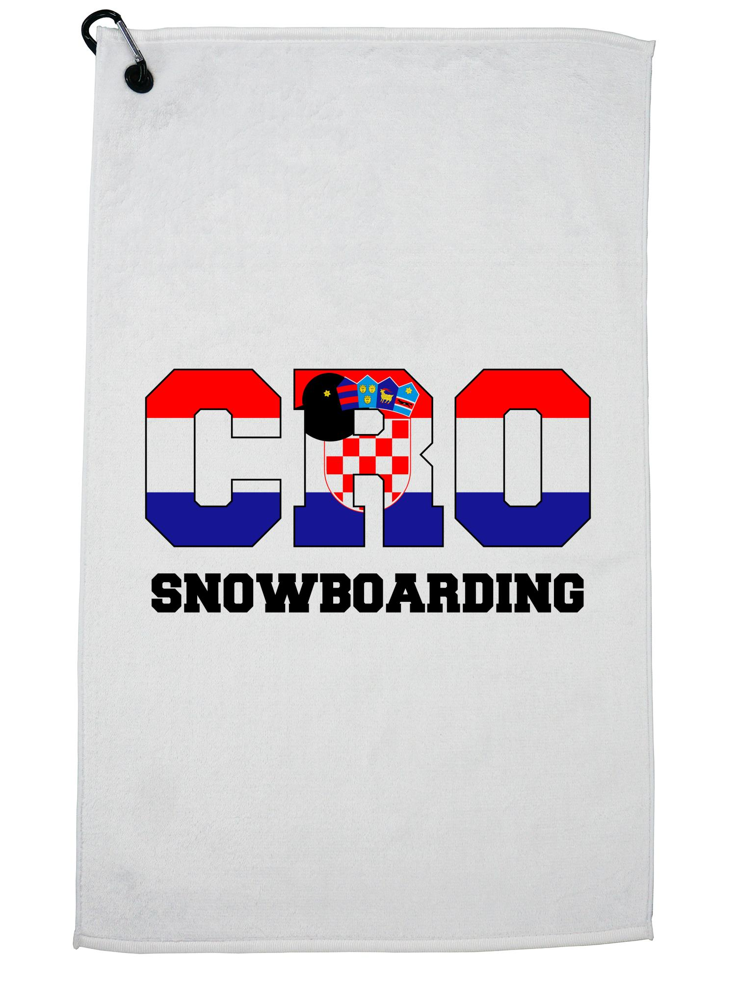 Croatian Snowboarding Winter Olympic CRO Flag Golf Towel with Carabiner Clip by Hollywood Thread