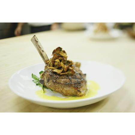 Lamb chop on a plate in a restaurant boston massachusetts usa Canvas Art - Eric Kulin Design Pics (38 x 24)