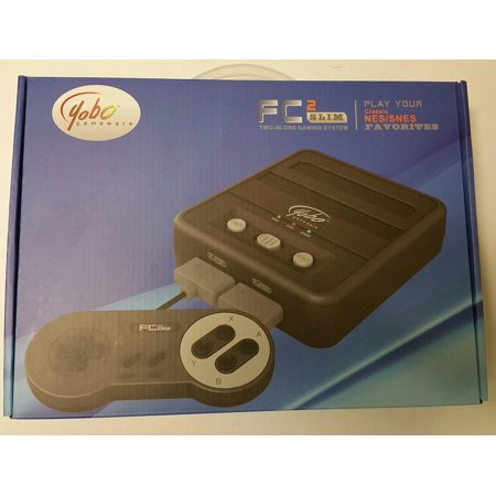 Yobo FC 2 Slim Game Top Loader Console System for NES & SNES & Super Famicom Games (Black)](Retro 7 Black And White)