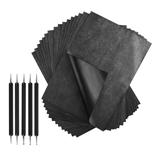 Canvas and Other Art Surfaces A4 Size Paper 200 Sheets Black Carbon Transfer Paper and Tracing Paper with 5 Pieces Embossing Stylus for Wood