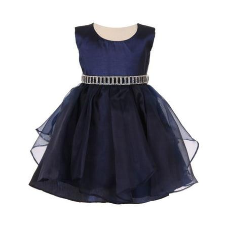 Baby Girls Navy Organza Taffeta Rhinestone Cascade Occasion Dress 18M
