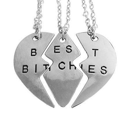 Art Attack Silvertone Broken Heart Best 3 Bitches Best Friends BFF Matching Pendant Necklace Gift