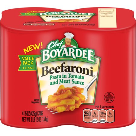 (3 pack) Chef Boyardee Beefaroni, 15 oz, 4 Pack ()