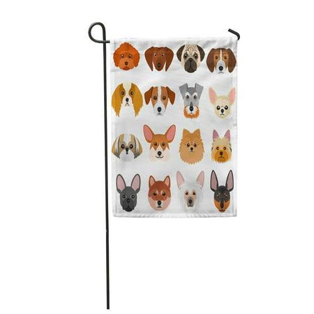 KDAGR Colorful Yorkshire Small Dog Faces on Pomeranian French Terrier Garden Flag Decorative Flag House Banner 12x18 inch Dog Garden Banner