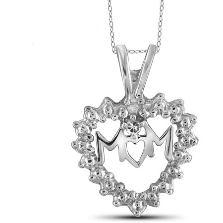 JewelersClub White Diamond Accent Sterling Silver Mother Heart Pendant