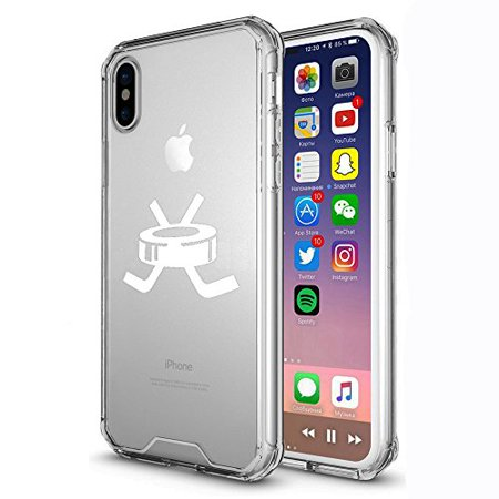 finest selection 38d67 d43fe For Apple iPhone X Clear Shockproof Bumper Case Hard Cover Hockey Puck With  Sticks (White)