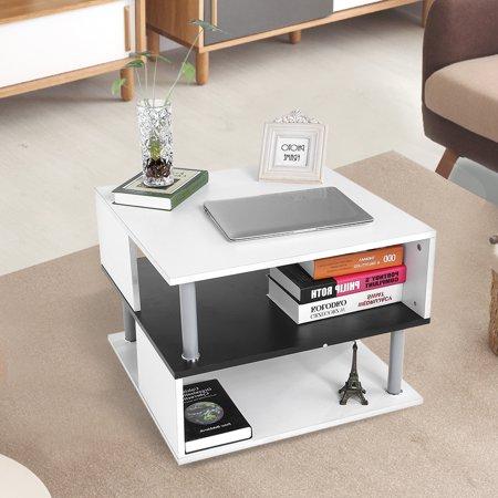 HURRISE Modern Stylish Coffee Tea Table Living Room Fruit Books Storage Rack Black + White 60*60*45.7cm ()