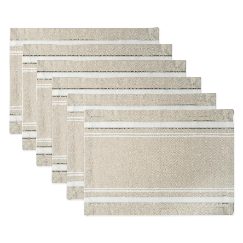 "Design Imports French Stripe Kitchen Placemat Set, Set of 6, 19""x13"", 100% Cotton, Multiple Colors"