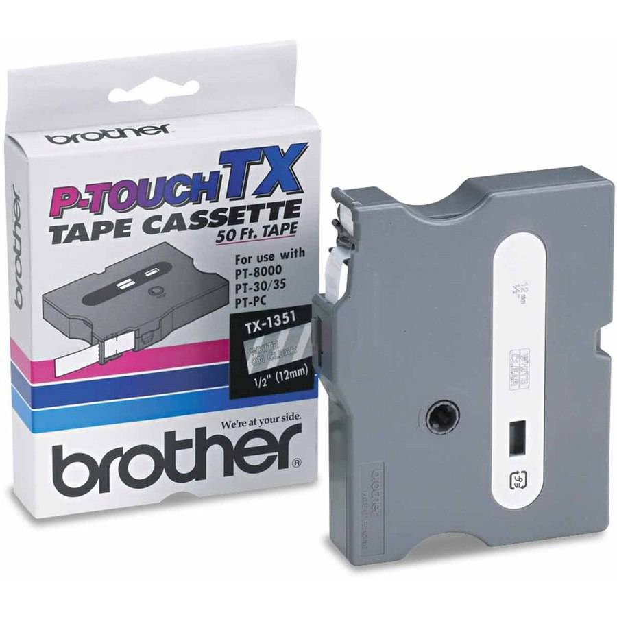 """Brother P-Touch TX Tape Cartridge for PT-8000, PT-PC, PT-30/35, 1/2"""", White on Clear"""