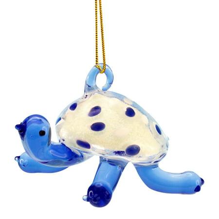 Beachcombers Glass Coastal Blue Sea Turtle Ornament Glow in the Dark 3 Inch - Blue Glow In The Dark
