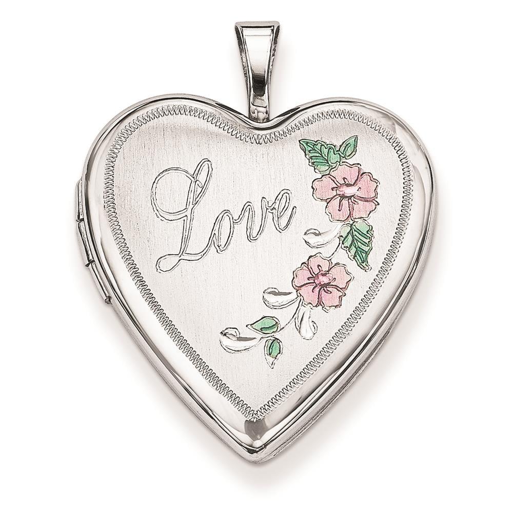 Sterling Silver 20mm Diamond Cut & Enameled Love Heart Locket 25mmx20mm