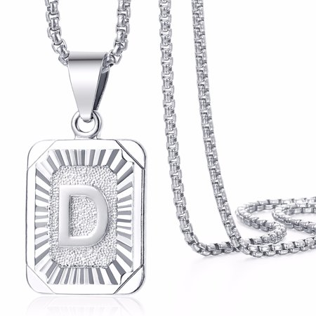 Mens Womens Square Initial Letter A-Z Pendant Necklace 585 Rose White Gold Plated Box Chain (Market Square Square Pendant)