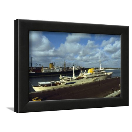 View of Large Yacht Offshore Framed Print Wall Art By Adam Scull