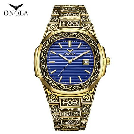 ONOLA ON3808 Men Quartz Watch Stainless Steel Band Fashion Multifunction Wristwatch 3ATM Calendar Date Display Watches