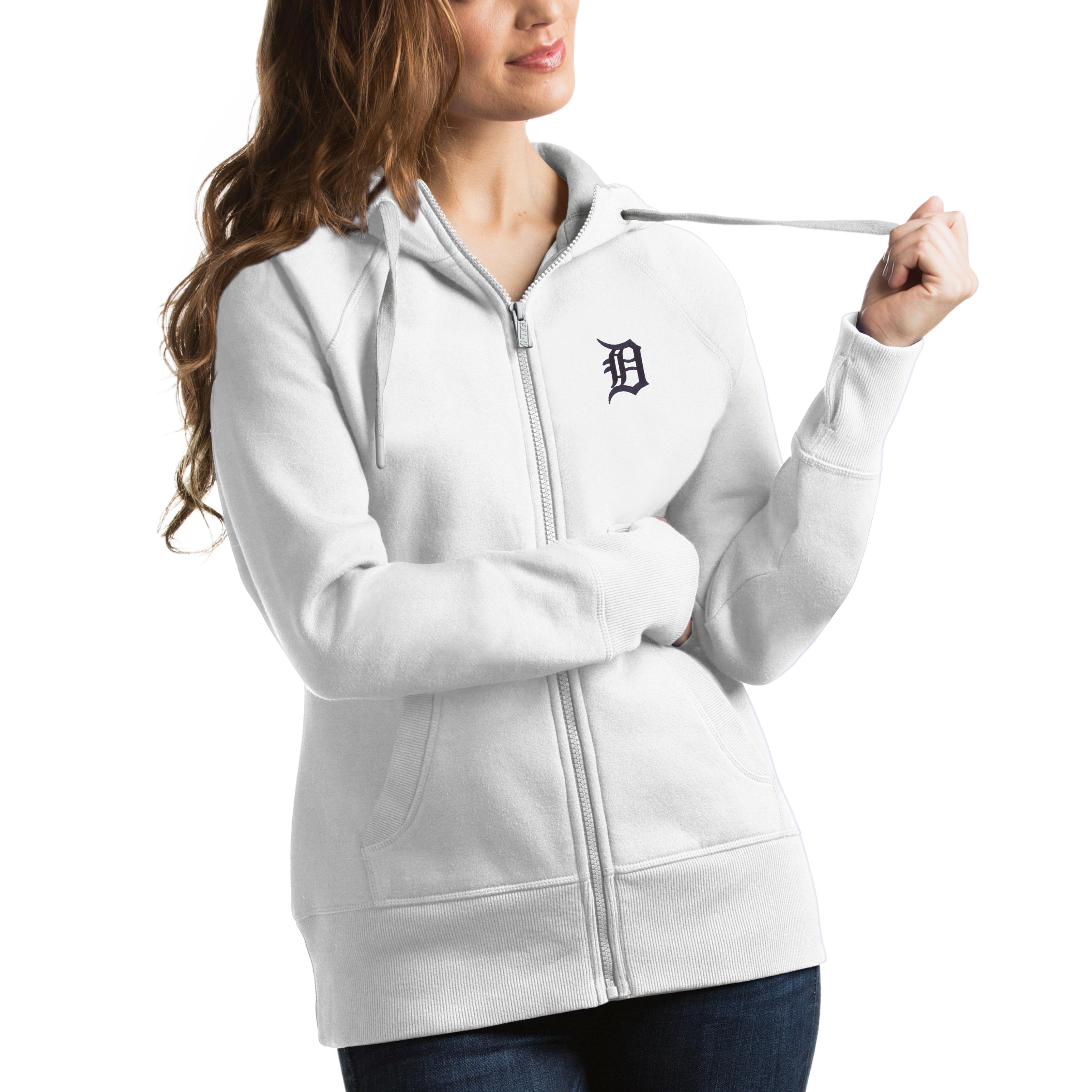 Detroit Tigers Antigua Women's Victory Full-Zip Hoodie - White