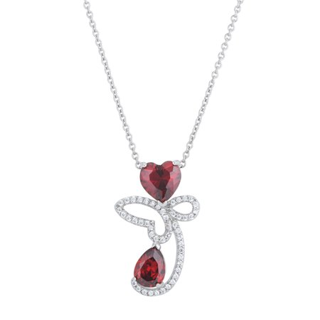 Abstract Heart Necklace - J Goodin Clarise 3.2ct Garnet CZ White Gold Rhodium Abstract Heart Drop Necklace